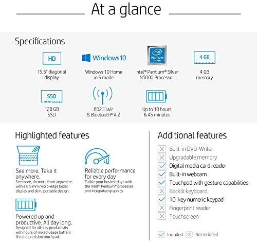 HP 15.6in Laptop (Intel Pentium Quad-Core N5000, 4GB RAM, 128GB SSD, HDMI, WiFi, Bluetooth, HD Webcam, Windows 10 S) (Renewed) 6
