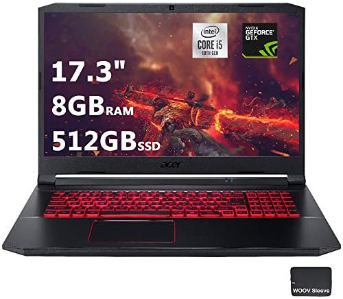 "Acer Nitro 5 17.3"" FHD Gaming Laptop Intel Core i5-10300H, NVIDIA GeForce GTX 1650 Ti,8GB DDR4 RAM, 512GB PCIE SSD, Backlit Keyboard, Woov Laptop Bag, Windows 10 Home Obsidian Black 1"