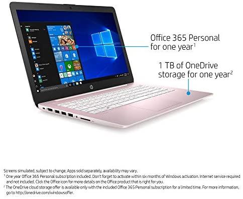 "HP Stream Laptop, 14"" HD Screen, Intel Celeron N4000 Processor, 4 GB DDR4 RAM, 64 GB eMMC Storage, 1-Year Office 365, Windows 10 Home S Mode, UP to 11 hr Battery Life, BesTry Accessory Bundle (Pink) 3"