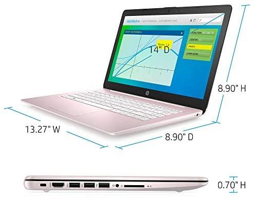 "HP Stream Laptop, 14"" HD Screen, Intel Celeron N4000 Processor, 4 GB DDR4 RAM, 64 GB eMMC Storage, 1-Year Office 365, Windows 10 Home S Mode, UP to 11 hr Battery Life, BesTry Accessory Bundle (Pink) 4"