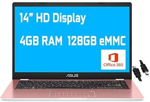 "2021 Flagship Asus Vivobook E410MA Thin and Light Laptop 14"" HD Display Intel Celeron N4020 4GB RAM 128GB eMMC Storage Intel HD Graphics 600 USB-C WiFi Office 365 Win10 (Pink)+ iCarp HDMI Cable 1"