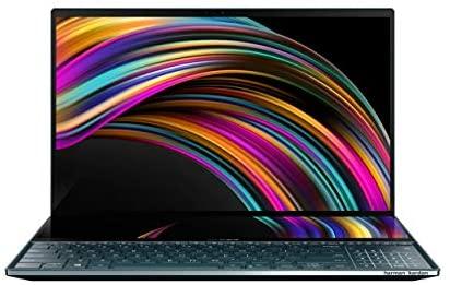 "ASUS ZenBook Pro Duo UX581 Laptop, 15.6"" 4K UHD NanoEdge Touch Display, Intel Core i9-10980HK, 32GB RAM, 1TB PCIe SSD, GeForce RTX 2060, ScreenPad Plus, Windows 10 Pro, Celestial Blue, UX581LV-XS94T 1"