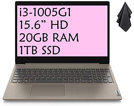 "2021 Latest Lenovo IdeaPad 3 Enterprise Laptop computer, 15.6"" HD Show, Intel Core i3-1005G1 Processor (Beats i7-7660U), 20GB RAM, 1TB SSD, Webcam, Bluetooth, HDMI, Wi-Fi, Home windows 10, Almond + Oydisen Material 1"