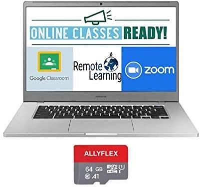 2020 Newest Samsung Chromebook 4+ 15.6 Inch FHD 1080P Laptop, Intel Celeron N4000 up to 2.6 GHz, 4GB RAM, 64GB eMMC, Bluetooth, Webcam, Chrome OS + AllyFlex 64GB MicroSD(Google Class Room Ready) 1