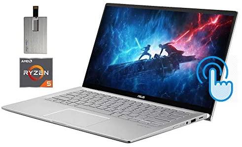 "2021 ASUS 14"" FHD Touchscreen Laptop Computer, AMD Ryzen 5-3500U CPU, 8GB RAM, 256GB SSD, Backlit Keyboard, HD Webcam, HD Audio, AMD Radeon Vega 8 Graphics, Win 10, Silver, 32GB SnowBell USB Card 1"