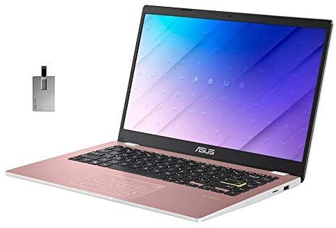 "2021 ASUS 14"" HD Display Laptop Computer, Intel Celeron N4020 Processor, 4GB DDR4 RAM, 128GB eMMC, Stereo Speakers, Intel UHD Graphics, USB-C, HDMI, Windows 10 Home, Pink, 32GB SnowBell USB Card 1"