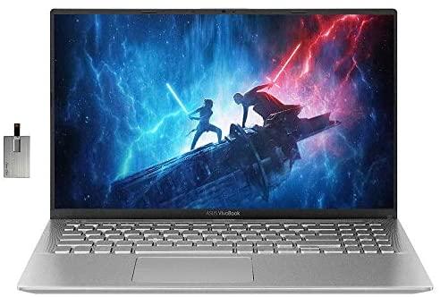"2021 ASUS VivoBook 15 15.6"" FHD Laptop Computer, AMD Ryzen 5-3500U Processor, 12GB RAM, 1TB HDD+256GB SSD, AMD Radeon Vega 8 Graphics, Webcam, HDMI, USB-C, Windows 10, Silver, 32GB Snow Bell USB Card 1"