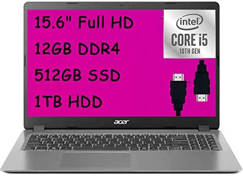 "2021 Acer Aspire 3 15 Premium Laptop computer Laptop I 15.6"" FHD Show I tenth Gen Intel Quad-Core i5-1035G1 (>i7-8550U) I 12GB DDR4 512GB SSD 1TB HDD I Webcam WiFi HDMI Win 10 + Delca HDMI Cable 1"