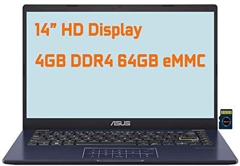 "2021 Asus Vivobook E410MA Thin and Light Premium Business Laptop I 14"" HD Display I Intel Celeron N4020 I 4GB DDR4 64GB eMMC I USB-C HDMI Win10 (Star Balck)+ Delca 32GB MicroSD Card 1"