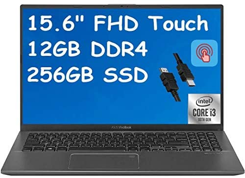 "2021 Flagship ASUS VivoBook 15 Thin and Light Laptop 15.6"" FHD Touchscreen Display 10th Gen Intel Core i3-1005G1 (Beat i5-8250U) 12GB RAM 256GB SSD Backlit Fingerprint Webcam Win 10 + iCarp HDMI Cable 1"
