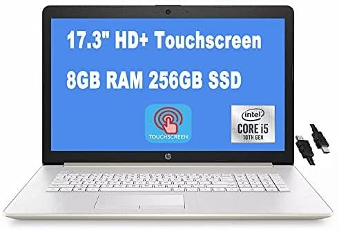 "2021 Flagship HP 17 Enterprise Laptop computer Pc 17.3"" HD+ Touchscreen tenth Gen Intel 4-Core i5-1035G1 (Beats i7-8665U) 8GB RAM 256GB SSD Intel UHD Graphics DVD-RW Win10 Gold + iCarp HDMI Cable 1"