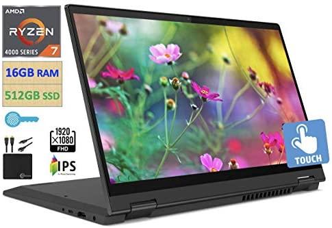 "2021 Flagship Lenovo IdeaPad Flex 5 2-in-1 Laptop, 14"" FHD IPS Touchscreen, AMD Ryzen 7 4700U (Beats i7-10710U) Upto 4.1 GHz, 16GB RAM, 512GB PCIe SSD, Webcam, WiFi, Windows 10, w/Marxsol Accessories 1"