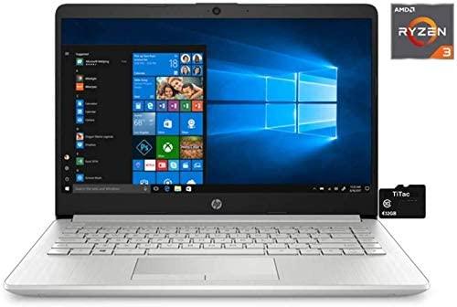 """2021 HP 14"""" HD Laptop Computer, 3rd Gen AMD Ryzen 3-3300U (Beat i3-7100U), 4GB DDR4, 1TB HDD, AMD Radeon Graphics, Webcam, USB-C, HDMI, Ethernet, Bluetooth, Windows 10 S, Sliver W/ TiTac 32GB Card 1"""
