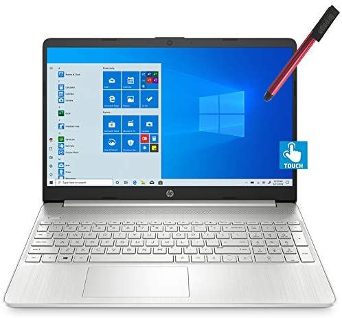 """2021 HP 15 15.6"""" FHD Touchscreen Business Laptop Computer_ Intel Quard-Core i7 1065G7 up to 3.9GHz_ 12GB DDR4 RAM_ 256GB PCIe SSD_ Type-C_ Remote Work_ Silver_ Windows 10 Pro_ BROAGE 64GB Flash Stylus 1"""