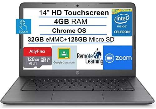 2021 HP Chromebook 14-inch Touchscreen Laptop Computer, Intel Celeron N3350, 4 GB RAM, 160GB Space(32 GB eMMC+128GB MicroSD), Chrome OS, WiFi, Webcam, USB Type-C, Bluetooth, 10 Hrs Battery+AlleFlex MP 1