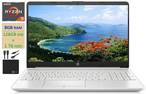 "2021 HP Flagship 15.6"" HD Laptop Computer, AMD Ryzen 3 3250U up to 3.5GHz (Beat Intel i5-7200U), 8GB RAM, 128GB SSD+1TB HDD, HD Webcam, Remote Work,WiFi, Bluetooth 4.2, HDMI, Win10 S, w/Marxsol Cables 1"