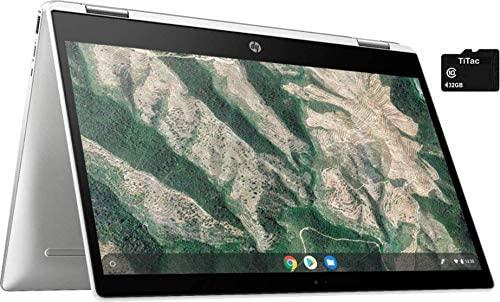 "2021 HP X360 2 in 1 Laptop computer 14"" Contact-Display HD Chromebook, Intel Celeron N4000, 4GB Reminiscence, 32GB eMMC Storage, USB Sort C, WiFi, Webcam, Chrome OS, Ceramic White + 32GB TiTac Card 1"