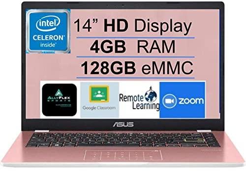 "2021 Newest ASUS E410 14"" Thin and Light Laptop Computer, Intel Celeron N4020 (up to 2.8GHz), 4GB DDR4 RAM, 128GB eMMC, WiFi, Bluetooth, HDMI, Webcam, Remote Work, Pink, Windows 10 S+AllyFlex MP 1"
