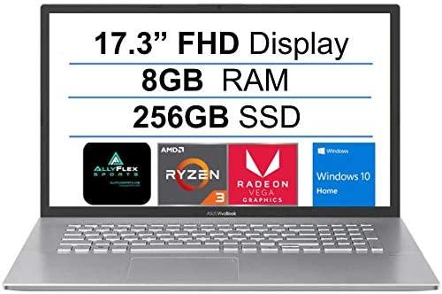 "2021 Newest ASUS VivoBook 17.3"" Thin and Light Laptop, FHD Display, Ryzen 3 3250U(Up to 3.5GHz, Beat i5-7200U) , 8GB RAM, 256GB SSD, Webcam, HDMI, USB-C, AMD Radeon Vega 3 Graphics, Win 10+AllyFlex MP 1"
