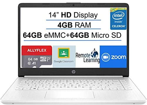 2021 Newest HP Stream 14-inch HD Laptop, White, Intel N4020 up to 2.8 G, 4G RAM, 128G Space(64G eMMC+64G Micro SD), WiFi, Webcam, Bluetooth, Windows 10 S, Office 365 Personal for 1 Year, Allyflex MP 1