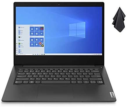 """2021 Newest Lenovo Ideapad 3 Premium Laptop, 14"""" HD Display, Intel Pentium Gold 6405U 2.4 GHz, 8GB DDR4 RAM, 128GB NVMe M.2 SSD, Bluetooth 5.0, Webcam, WiFi, HDMI, Windows 10 S, Black + Oydisen Cloth 1"""