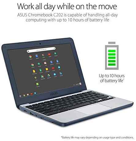"ASUS Chromebook-Laptop- 11.6"" Ruggedized and Spill Resistant Design-with 180 Degree-Hinge, Intel N3060 Celeron 4GB DDR3, 32GB eMMC, Chrome OS- C202SA-YS04 Dark Blue 3"