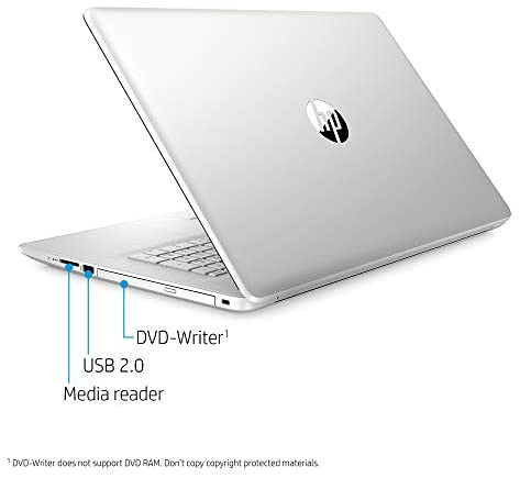 "2020 New HP 17-by3063st 17.3"" HD+ Display Notebook, Intel i3-1005G1, 8GB Memory, 128GB SSD + 1TB Hard Drive, Windows 10, Silver 7"