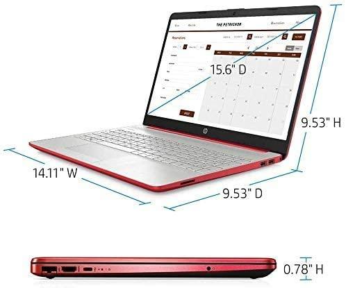 """2021 HP 15.6"""" HD WLED Laptop, Intel Pentium Gold 6405U Processor, 4GB RAM, 128GB SSD, HDMI, Webcam, Intel UHD Graphics 605, Bluetooth, Wi-Fi, Windows 10 S, Red, W/ MD Accessories 2"""