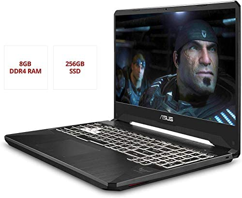 """Asus TUF Gaming Laptop, 15.6"""" IPS Full HD, AMD Quad-Core Ryzen 7 3750H, Nvidia GeForce GTX 1650, RGB Backlit Keyboard, Webcam, BT, Windows 10 + CUE Accessories (8GB DDR4, 256GB SSD) 3"""