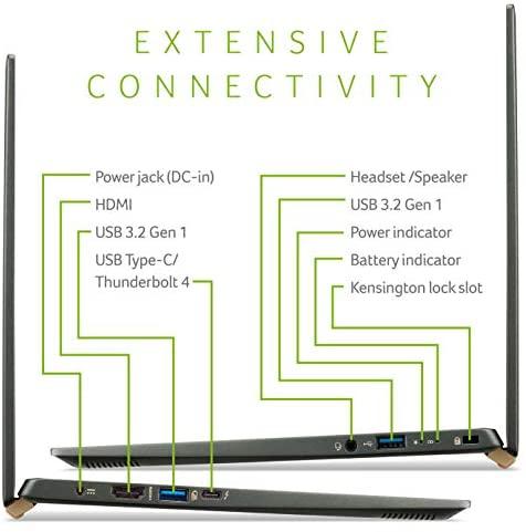 "Acer Swift 5 Intel Evo Thin & Light Laptop, 14"" Full HD Touch, Intel Core i7-1165G7, Intel Iris Xe Graphics, 16GB LPDDR4X, 1TB NVMe SSD, Wi-Fi 6, FPR, Back-lit KB, Antimicrobial, SF514-55TA-74EC 9"