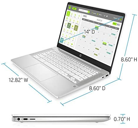 HP Chromebook 14-inch HD Laptop, Intel Celeron N4000, 4 GB RAM, 32 GB eMMC, Chrome (14a-na0020nr, Ceramic White) 4