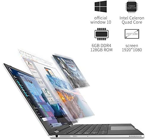 Jumper 11.6 inch Full HD Touchscreen Laptop 6GB RAM, 128GB eMMC 360 Degree Convertible Tablet PC Windows 10 Ultrabook PC Intel Celeron Quad Core Processor (Navy Blue) 3