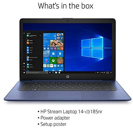 HP Stream 14-inch Laptop, Intel Celeron N4000, 4 GB RAM, 64 GB eMMC, Windows 10 Home in S Mode with Office 365 Personal for 1 Year (14-cb185nr, Royal Blue) 5