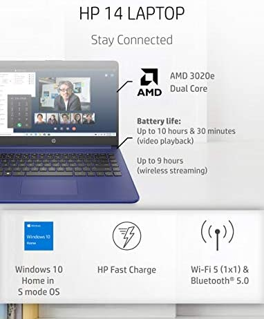 HP 14 Laptop, AMD 3020e, 4 GB RAM, 64 GB eMMC Storage, 14-inch HD Display, Windows 10 Home in S Mode, Long Battery Life, Microsoft 365, (14-fq0010nr, 2020) 2