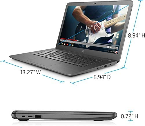 """2021 HP Premium Chromebook 14"""" HD Touchscreen Laptop, Intel Celeron N3350 Dual-core (up to 2.4GHz), 4GB RAM, 32GB eMMC, 10+ Hours Battery, HD Webcam, USB-A&C, Chrome OS, WiFi w/Marxsol Cables 7"""