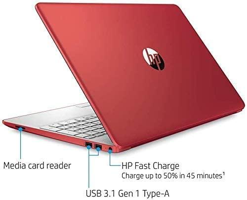 """2021 HP 15.6"""" HD WLED Laptop, Intel Pentium Gold 6405U Processor, 4GB RAM, 128GB SSD, HDMI, Webcam, Intel UHD Graphics 605, Bluetooth, Wi-Fi, Windows 10 S, Red, W/ MD Accessories 4"""