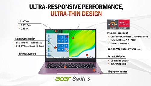 "Acer Swift 3 Thin & Light Laptop, 14"" Full HD IPS, AMD Ryzen 7 4700U Octa-Core Processor with Radeon Graphics, 16GB LPDDR4X, 512GB NVMe SSD, WiFi 6, Backlit KB, Fingerprint Reader, SF314-42-R3U5 2"