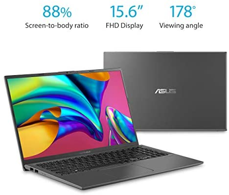 "ASUS F512JA-AS34 VivoBook 15 Thin and Light Laptop, 15.6"" FHD Display, Intel i3-1005G1 CPU, 8GB RAM, 128GB SSD, Backlit Keyboard, Fingerprint, Windows 10 Home in S Mode, Slate Gray 2"