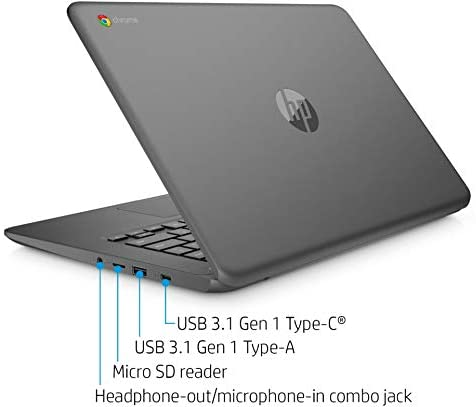 """2021 HP Premium Chromebook 14"""" HD Touchscreen Laptop, Intel Celeron N3350 Dual-core (up to 2.4GHz), 4GB RAM, 32GB eMMC, 10+ Hours Battery, HD Webcam, USB-A&C, Chrome OS, WiFi w/Marxsol Cables 6"""