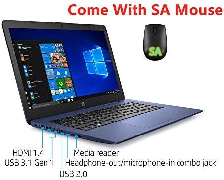 Newest HP Stream 14inch HD(1366x768) Intel Celeron N4000 Dual-Core, 4GB RAM, 64GB eMMC, HDMI, WiFi, Webcam, Bluetooth, Win10 S, Blue (Renewed) 3