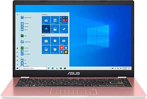 """2021 Newest ASUS 14"""" Thin Light Student Laptop, Intel Celeron N4020 (up to 2.8GHz), 4GB DDR4 RAM, 128GB eMMC, 12Hours Battery Life, Webcam, Zoom Meeting, Win10, Pink w/GM Accessories 3"""