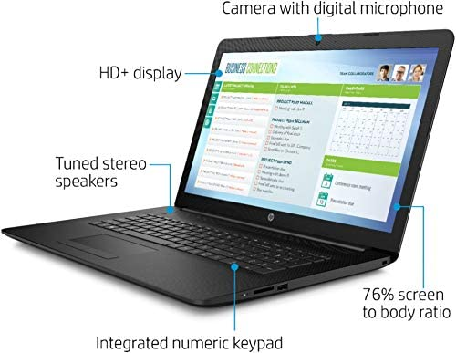 2021 HP 17.3 Laptop Computer HD+ Anti-Glare Display, 10th Gen Intel Core i3-1005G1 (Beats i5-7200U), 8GB DDR4 RAM, 1TB HDD, DVD RW, WiFi, HDMI, Webcam, Win 10 S + TiTac Card 4