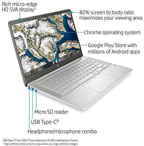 HP Chromebook 14-inch HD Laptop, Intel Celeron N4000, 4 GB RAM, 32 GB eMMC, Chrome (14a-na0020nr, Ceramic White) 2