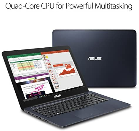 """ASUS L402WA-EH21 Thin and Light 14"""" HD Laptop; AMD E2-6110 Quad Core 1.5GHz Processor,AMD Radeon R2 Graphics,4GB RAM,32GB eMMC Flash Storage,Windows 10 S with FREE 1yr Office 365 Subscription Included 7"""
