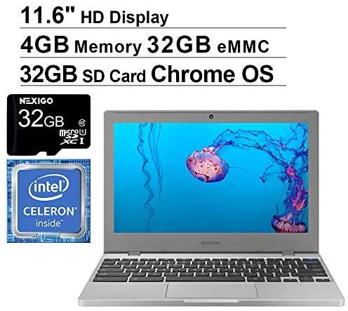 Samsung Chromebook 4 11.6 Inch Laptop with Webcam| Intel Celeron N4000 up to 2.6 GHz| 4GB LPDDR4 RAM| 32GB eMMC| Bluetooth| Chrome OS + NexiGo 32GB MicroSD Card Bundle 3