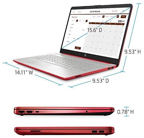 "HP 15 15.6"" Laptop Computer_ Intel Pentium Gold 6405U 2.4GHz_ 4GB DDR4 RAM, 500GB HDD_ AC WiFi_ Bluetooth 4.2_ USB Type-C_ HDMI_ Webcam_ Scarlet Red_ Remote Work_ Windows 10_ BROAGE 64GB Flash Drive 6"
