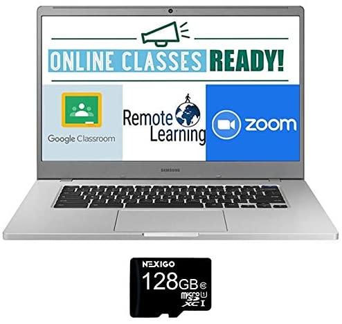 2021 Samsung Chromebook 15.6 Inch Laptop  FHD 1080P Display  Intel Celeron N4000 up to 2.6 GHz  4GB RAM  128GB eMMC  Bluetooth  Chrome OS + NexiGo 128GB MicroSD Card Bundle 2