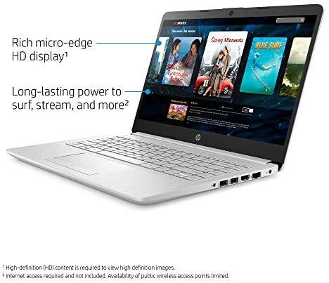 """2021 HP 14"""" HD Laptop Computer, 3rd Gen AMD Ryzen 3-3300U (Beat i3-7100U), 4GB DDR4, 1TB HDD, AMD Radeon Graphics, Webcam, USB-C, HDMI, Ethernet, Bluetooth, Windows 10 S, Sliver W/ TiTac 32GB Card 4"""