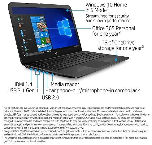 HP Stream 14-Inch Laptop, Intel Celeron N4000, 4 GB RAM, 64 GB eMMC, Windows 10 Home in S Mode (14-cb159nr, Jet Black) 2
