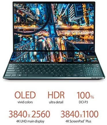 "ASUS ZenBook Pro Duo UX581 Laptop, 15.6"" 4K UHD NanoEdge Touch Display, Intel Core i7-10750H, 16GB RAM, 1TB PCIe SSD, GeForce RTX 2060, ScreenPad Plus, Windows 10 Pro, Celestial Blue, UX581LV-XS74T 7"